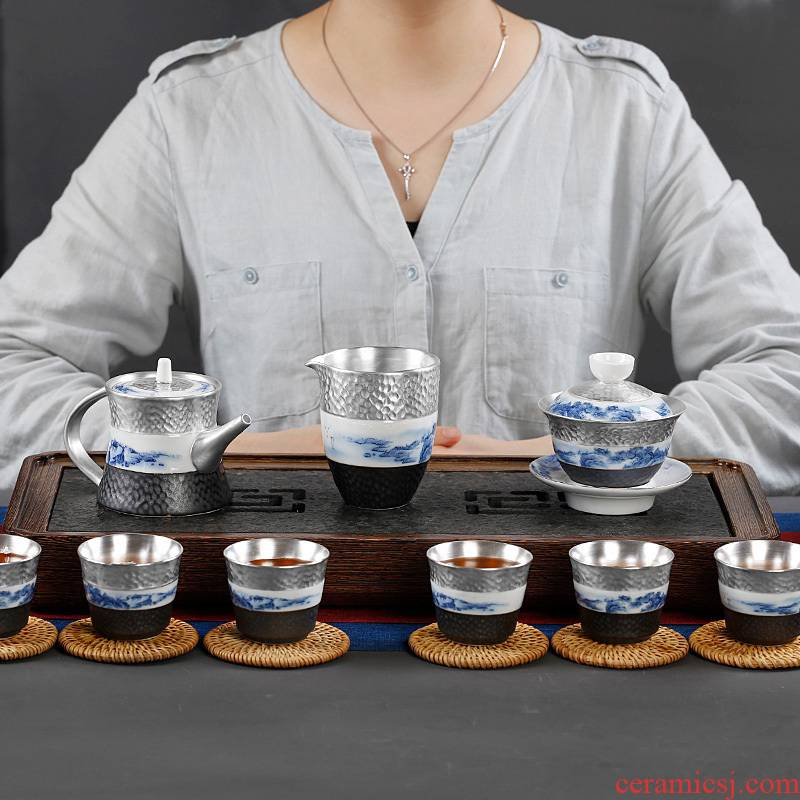 Jingdezhen coppering. As silver kung fu tea set household checking ceramic teapot teacup 6 contracted and I sitting room only