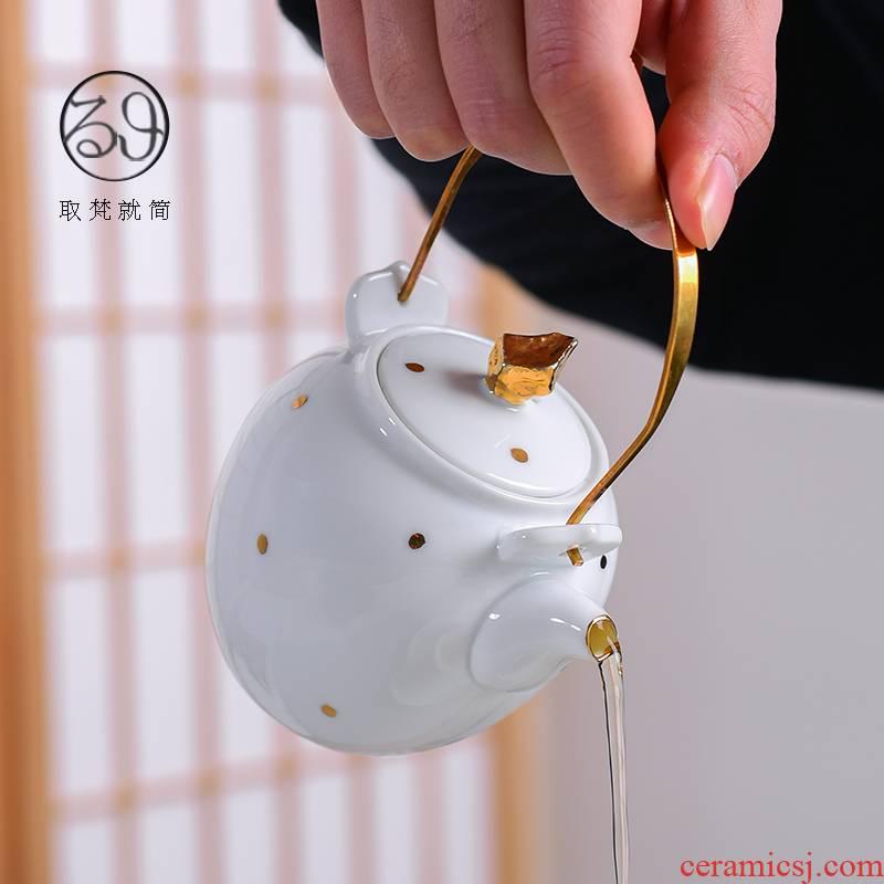 Jingdezhen ceramic checking fuels the teapot shadow bronze girder little teapot kung fu tea tea kettle