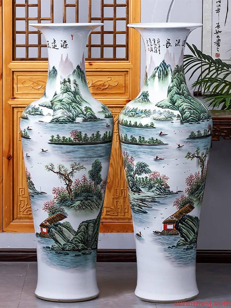 Jingdezhen ceramic hand - made fishtail big vase furnishing articles of Chinese style living room opening landing decoration large extra large