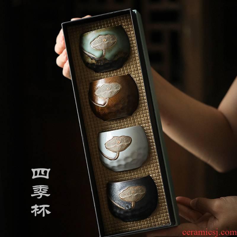 A single master cup kunfu tea cup sample tea cup coarse pottery teacup tea cups kunfu tea gift boxes