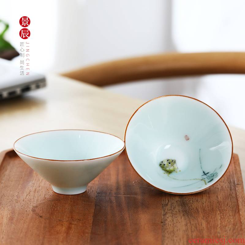 Jingdezhen ceramic hand - made creative teacups master cup single CPU and high - end white porcelain cup tea kungfu tea cup