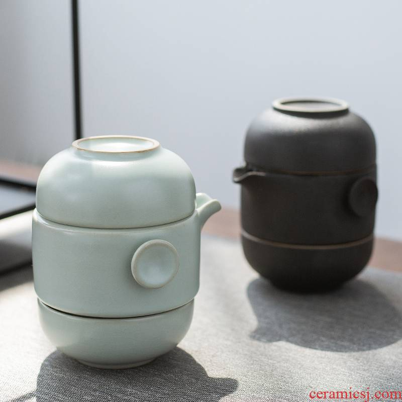RenXin contracted portable is suing travel tea set suit Japanese home a pot of two cups of crack glass ceramic teapot
