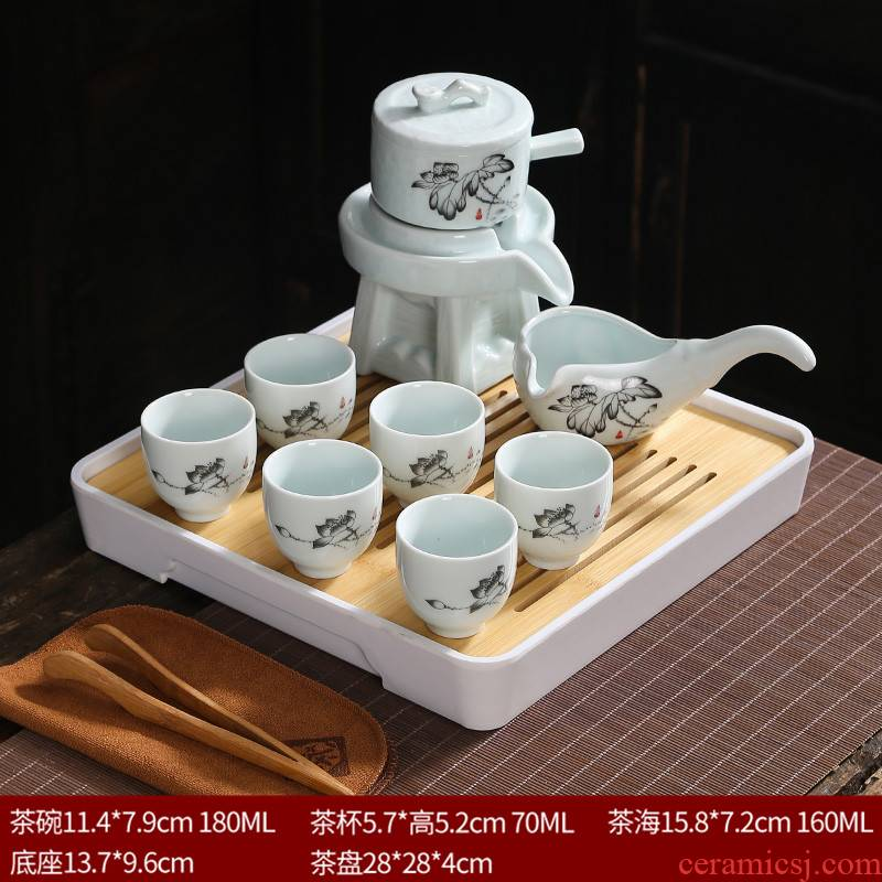 Fit celadon lazy tea set a single rotating water kung fu automatically blunt tea of restoring ancient ways to revolve the teapot