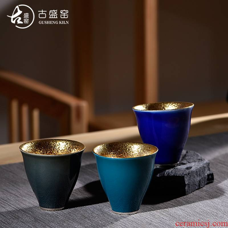 Ancient sheng up new elegant yellow marigold glass up with pure 24 k gold pure manual master cup ceramic sample tea cup