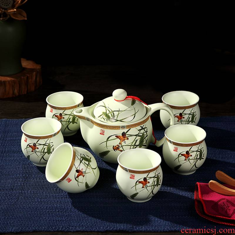 Jingdezhen tea suit household double anti hot cup teapot office of a complete set of kung fu tea cups
