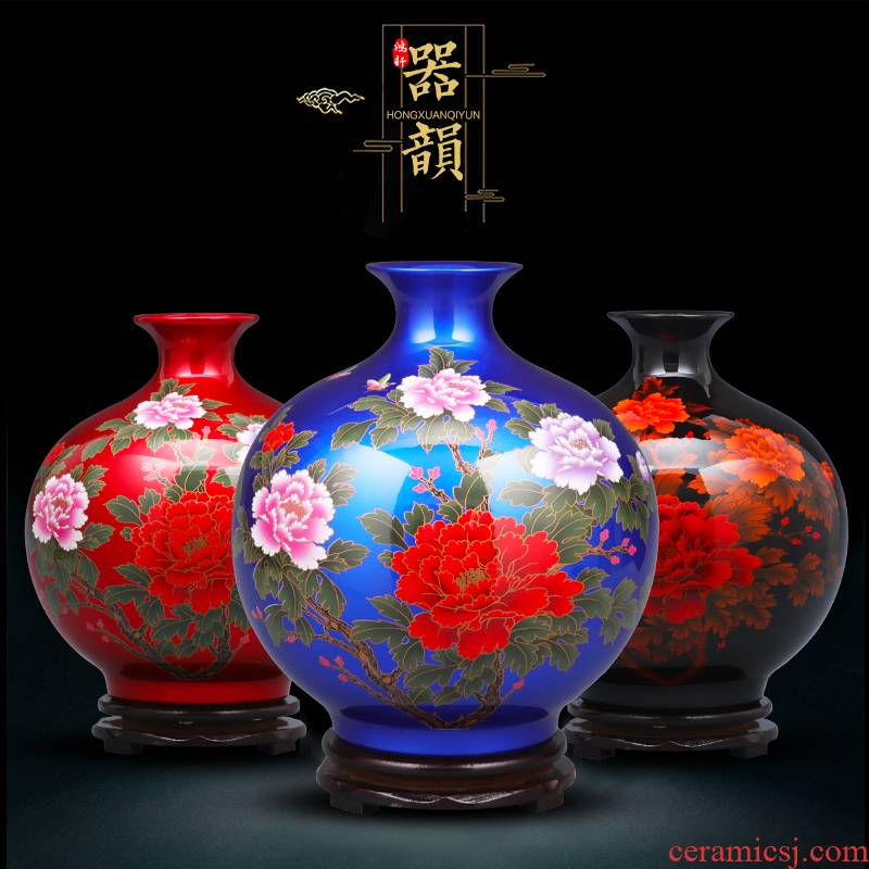 Jingdezhen porcelain ceramic glaze crystal vases, flower arranging furnishing articles furnishing articles of modern home living room TV ark, adornment