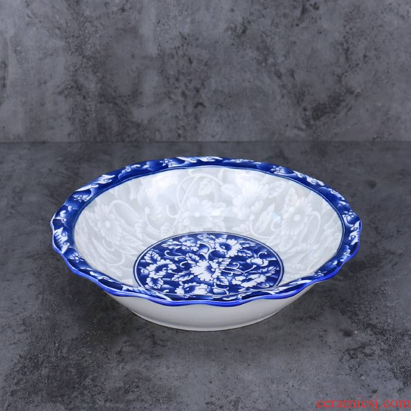 Blue and white porcelain lotus of boiled fish soup bowl bowl of domestic large soup bowl of the big yards vegetables pickled fish bowl bowl of soup basin