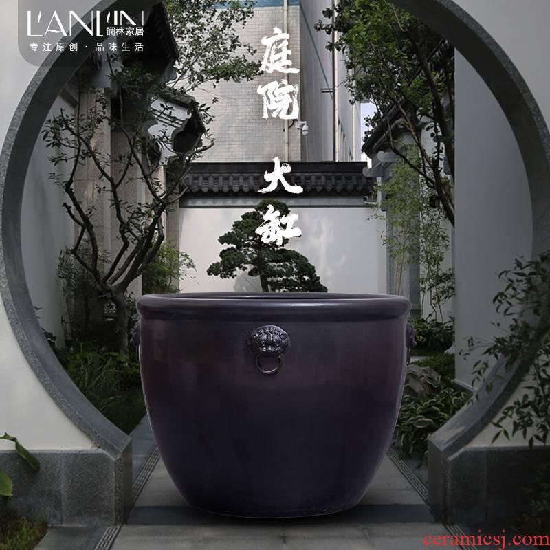Jingdezhen earthenware VAT oversized old courtyard is suing landscape water lily basin crock tortoise fish pond cylinder
