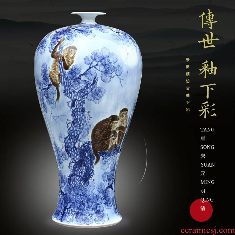 Jingdezhen ceramic hand - made of golden monkey plutus vase household hotels in plutus furnishing articles of I sitting room decoration