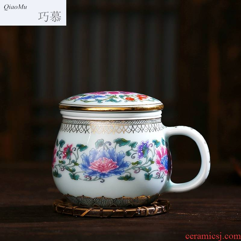 Qiao mu gold coloured drawing or pattern longquan celadon teacup with cover cup ceramic filter glass office tea cup