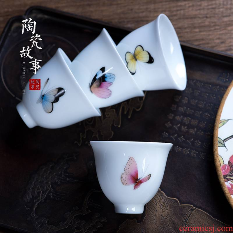 Hand - made ceramic story enamel butterfly sample tea cup kung fu tea cups white porcelain masters cup