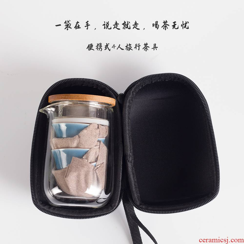 Public remit portable travel tea set four cups crack ceramic is suing small portable package a pot of sets with you