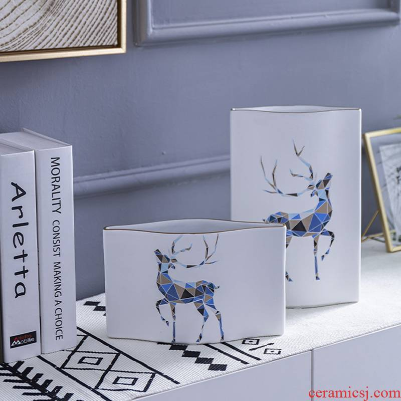 Creative ceramic desktop furnishing articles animals living room TV cabinet porch light key-2 luxury Nordic household soft adornment ornament