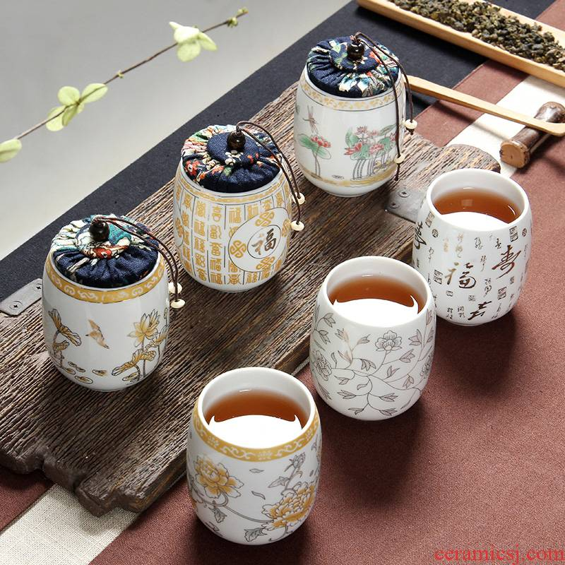Ceramic cups water cup golden Japanese mini small caddy fixings dual - use a cup seal pot cup