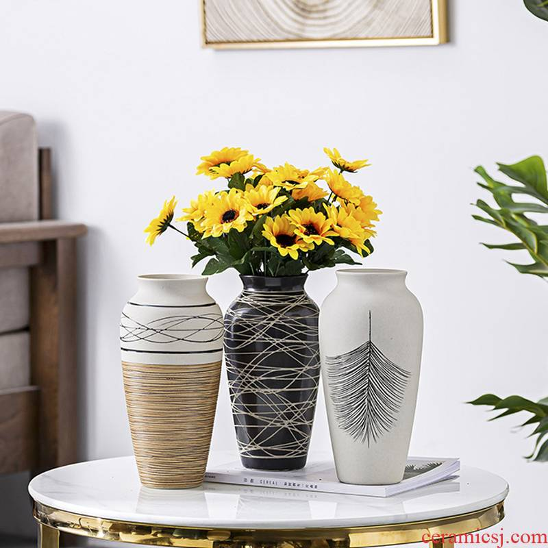 Ceramic floret bottle of dried flowers home sitting room flower implement furnishing articles decoration ideas contracted Nordic water raise lucky bamboo flower arrangement