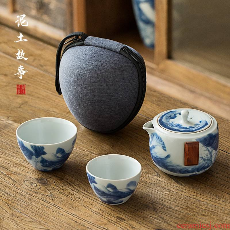 Jingdezhen porcelain hand - made crack cup a pot of 2 cups of individual travel office portable set of ceramic kung fu tea set