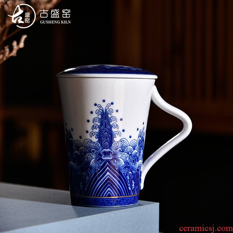 Ancient sheng up new office sea blue and white porcelain cup business ceramic cup with cover large capacity single glass with the cup
