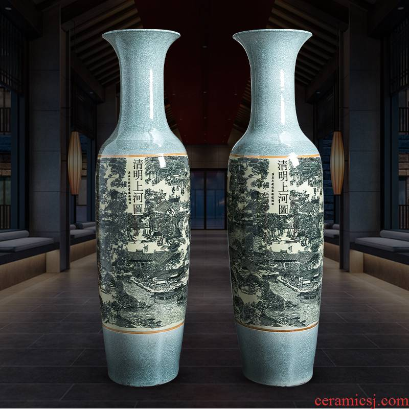Jingdezhen ceramics archaize crack qingming scroll oversized ground vase furnishing articles home sitting room adornment