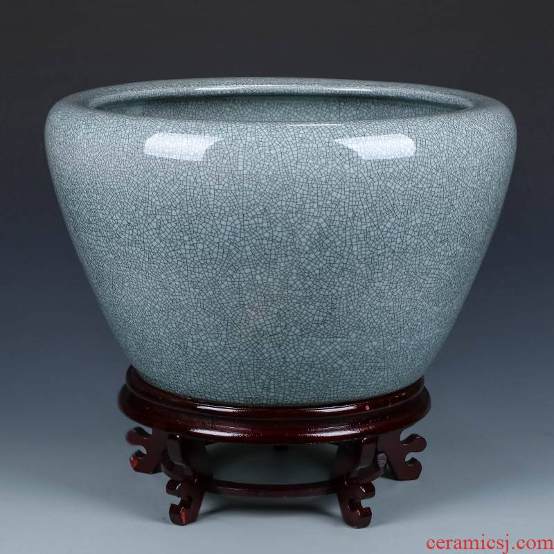 Jingdezhen ceramic archaize crack glaze flower POTS of water culture water lily tank sitting room is suing garden kind of cycas bonsai