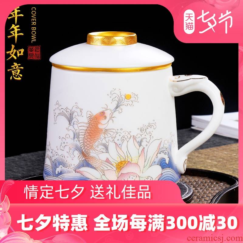 The Master artisan fairy guo - jin zhang checking ceramic personal office tea cups with cover glass filter separation of tea cups
