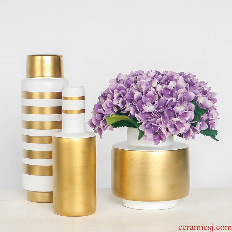 Nordic light creative key-2 luxury golden circle ceramic flower vases, flower arranging flower implement home sitting room adornment table furnishing articles