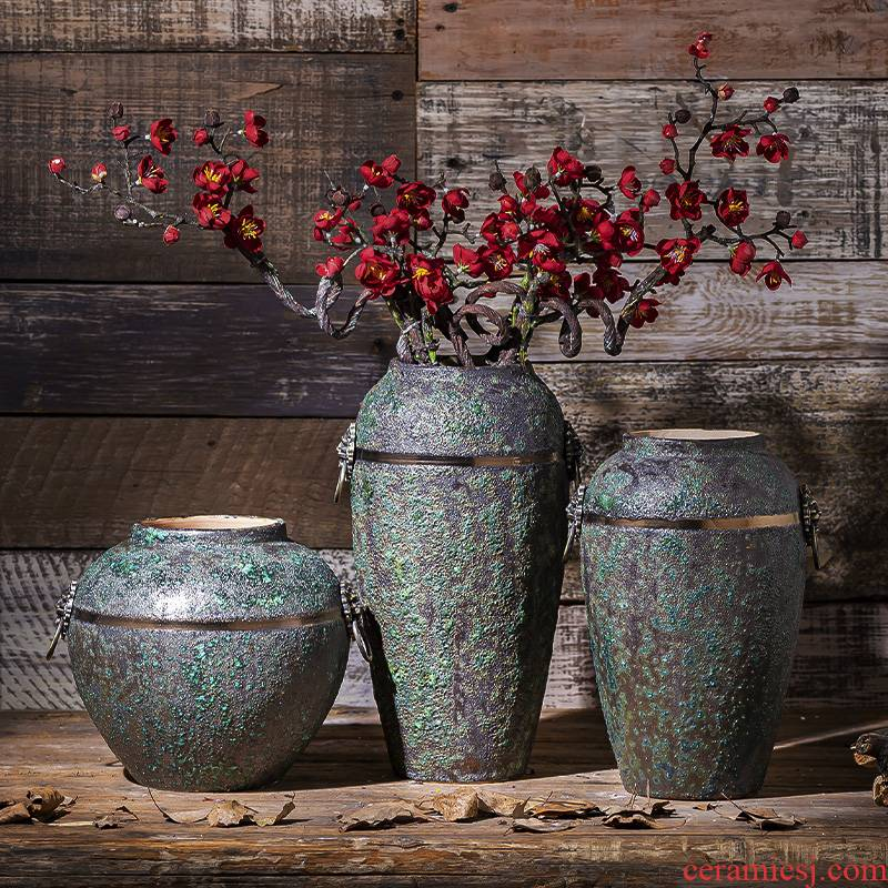 Jingdezhen coarse some ceramic pot pottery loops may dry flower vase retro ceramic vases, sitting room adornment flower arranging furnishing articles