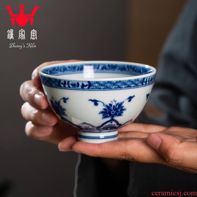 Clock sample tea cup home up jingdezhen blue and white for lotus tea set manually maintain triangle flowers pattern circle like flower master cup single CPU