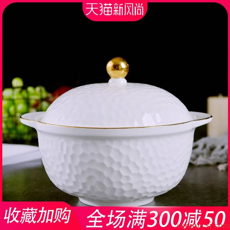 Creative household Jin Bianshuang ear hot soup pot with a lid embossing ipads porcelain soup basin of continental large - sized ceramic bowl
