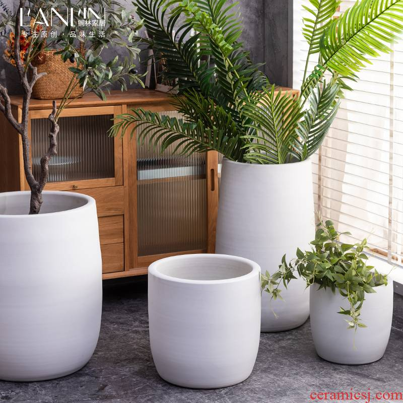 Ground flowerpot ceramic green plant cylinder white sitting room adornment is placed the modern ideas of jingdezhen large vase