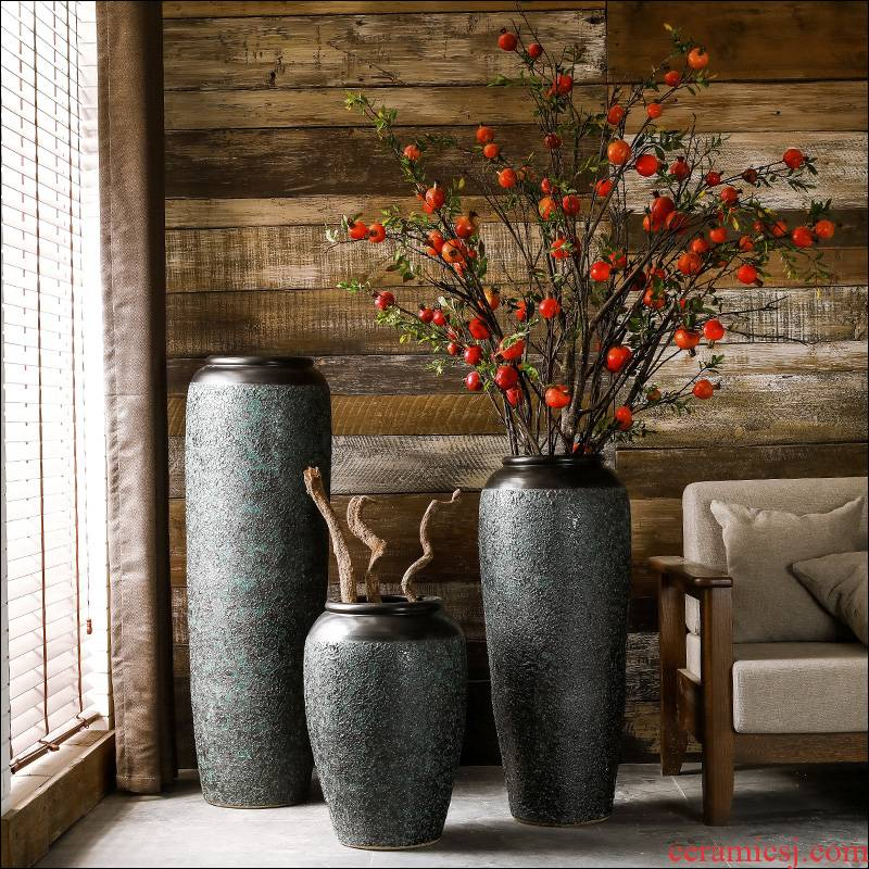 Ground vase large rural Chinese style restoring ancient ways is inserted dried flowers coarse pottery sitting room hotel villa do old ceramic furnishing articles