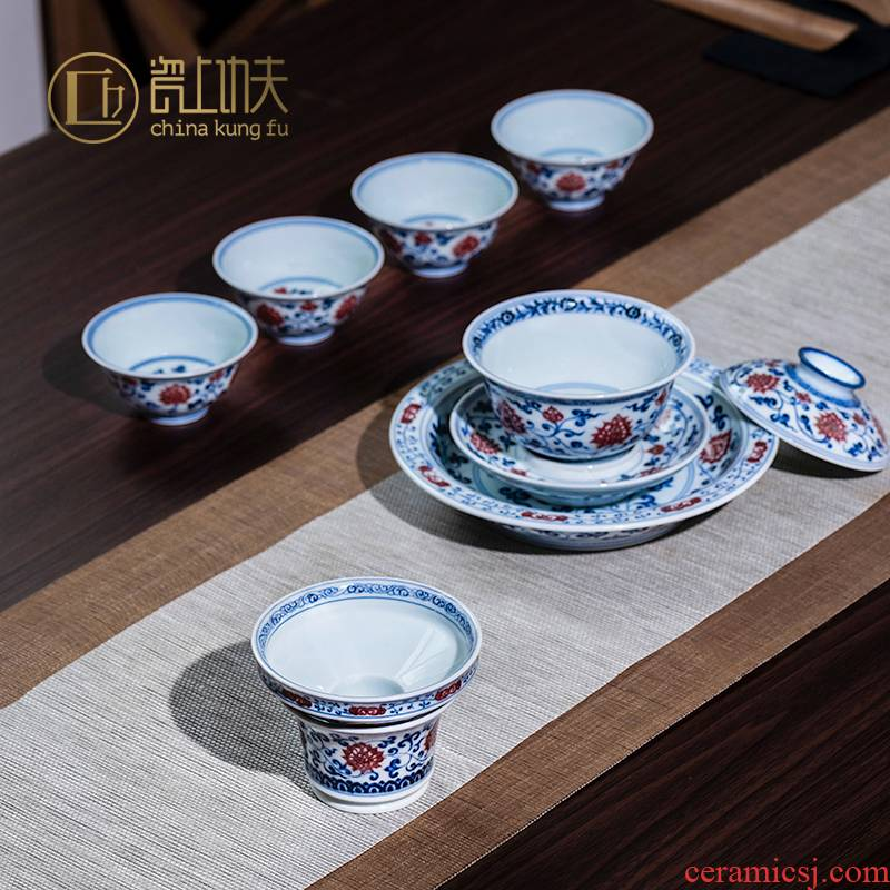 Jingdezhen tureen suit) make tea cup bowl is pure blue and white youligong hand - made ceramic tea set kunfu tea