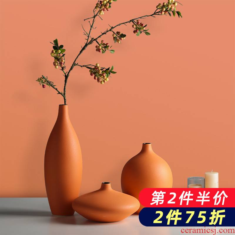 Ceramic creative Nordic ins dried flower vases, flower arranging furnishing articles I and contracted household living room table decorations