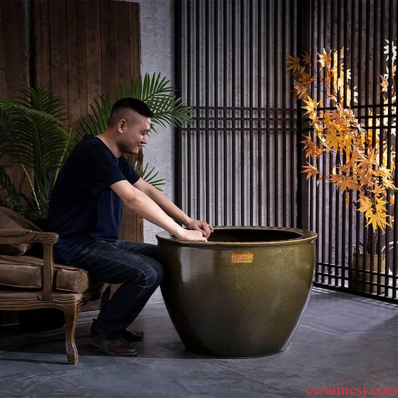 Ceramic aquarium retro oversized tank fish garden is suing the lotus lotus goldfish turtle cylinder fortune