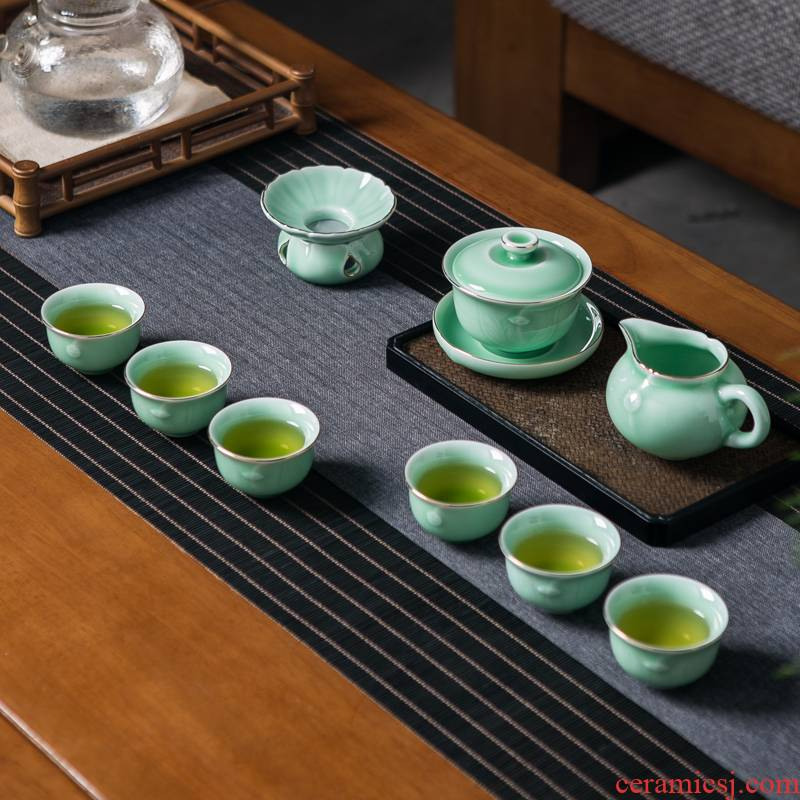 Jingdezhen ceramic film celadon kung fu tea set suit household contracted sitting room of a complete set of paint tureen tea