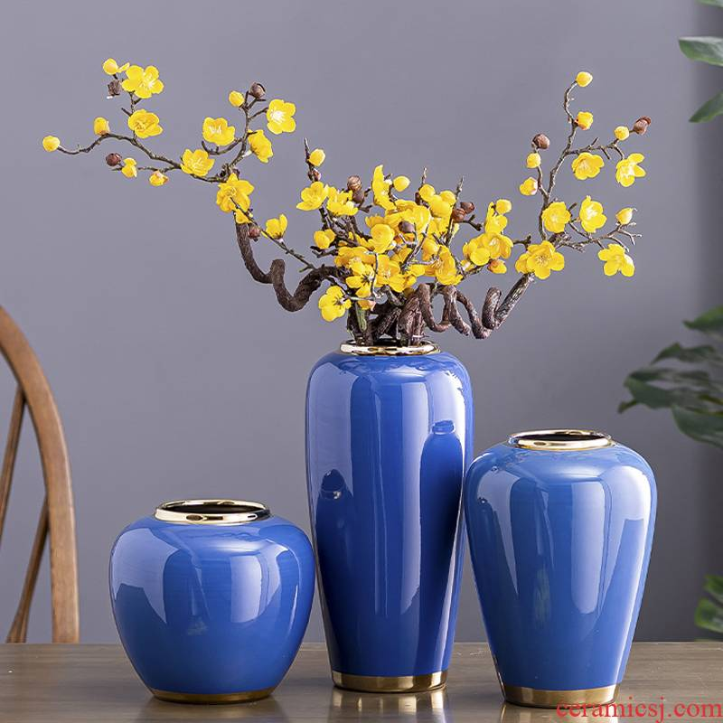 Light key-2 luxury European ceramic vase dried flower flower implement furnishing articles sitting room adornment creative gift contracted Nordic water raise flower arrangement