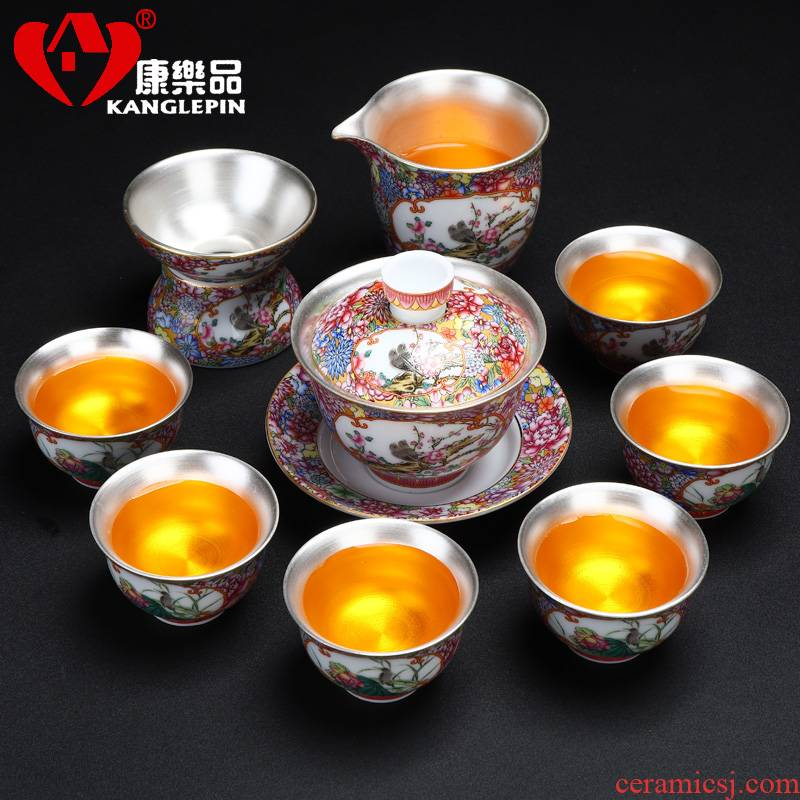 Recreational product coppering. As silver 999 kung fu tea set a complete set of jingdezhen tea colored enamel ware home office tureen ceramics