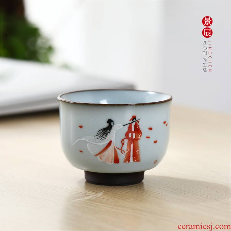 Jingdezhen ceramic up single cup sample tea cup home master cup kung fu tea set hand - made creative move cups