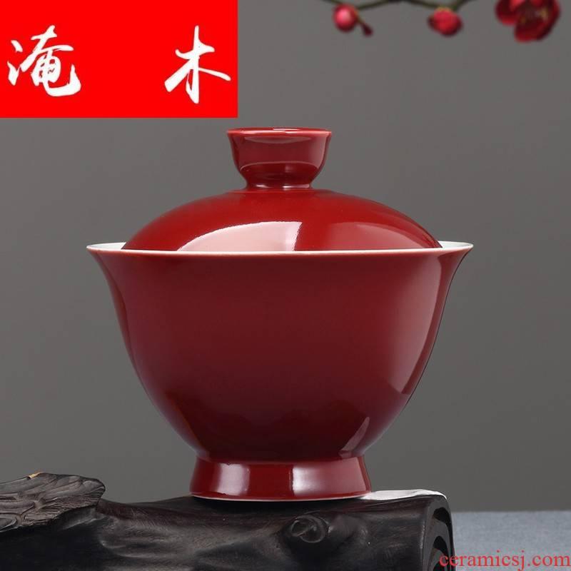 General flooded wood ji red tureen tea is tea cups ceramic three bowl bowl household kung fu