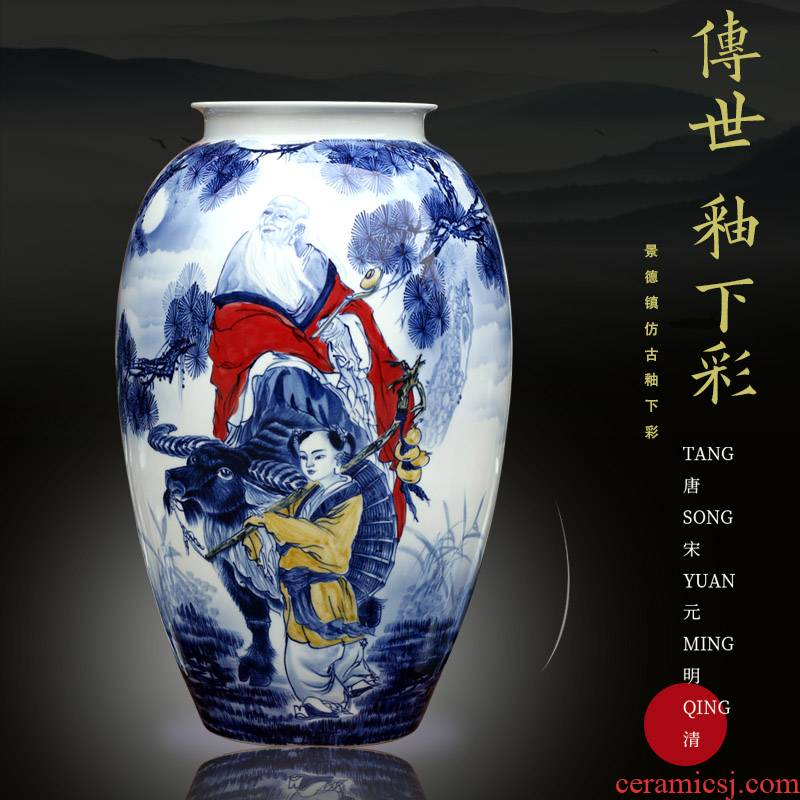 Jingdezhen ceramic vase home sitting room place adorn article classic hand - drawn characters mesa calligraphy and painting scroll to receive goods