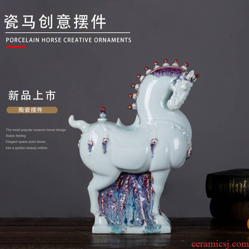 Ceramic horse furnishing articles office sitting room household soft adornment ornament creative TV ark, wine crafts