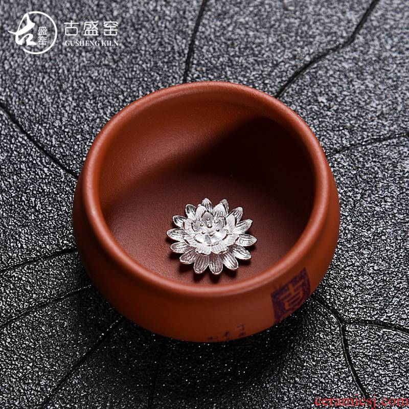 The ancient master/silver violet arenaceous silver fish bowl sheng up ceramic kung fu tea tea sample tea cup, cup package mail