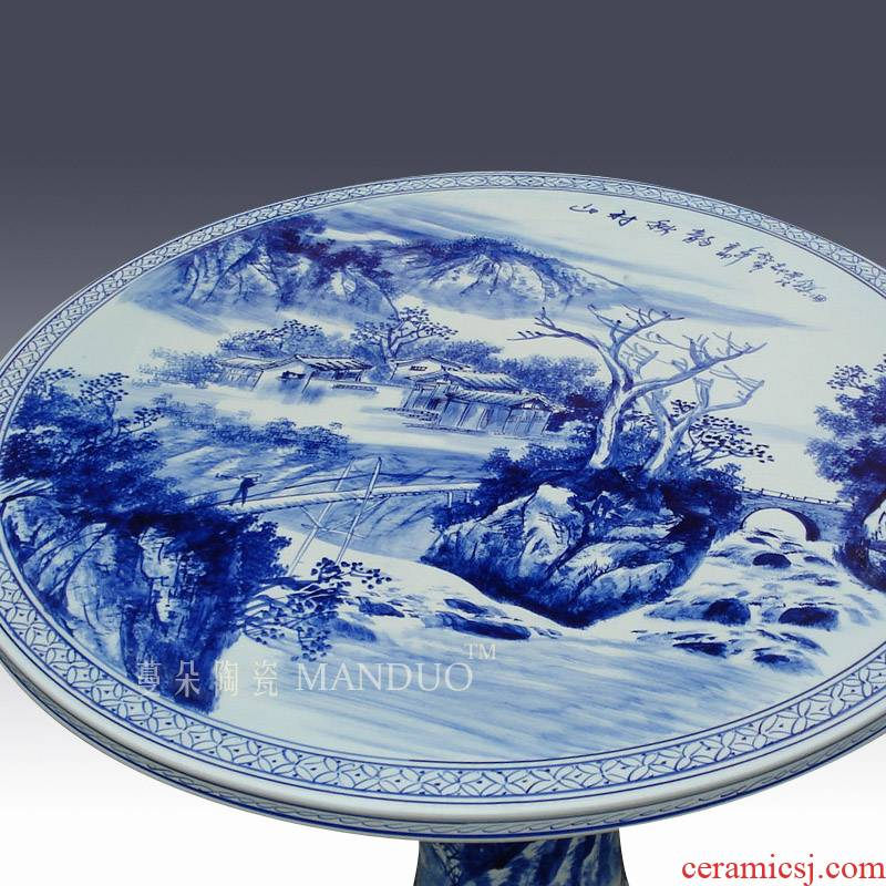 Hand - made jiangnan landscape blue and white porcelain table of antifreeze is prevented bask in frost park courtyard balcony table set the table