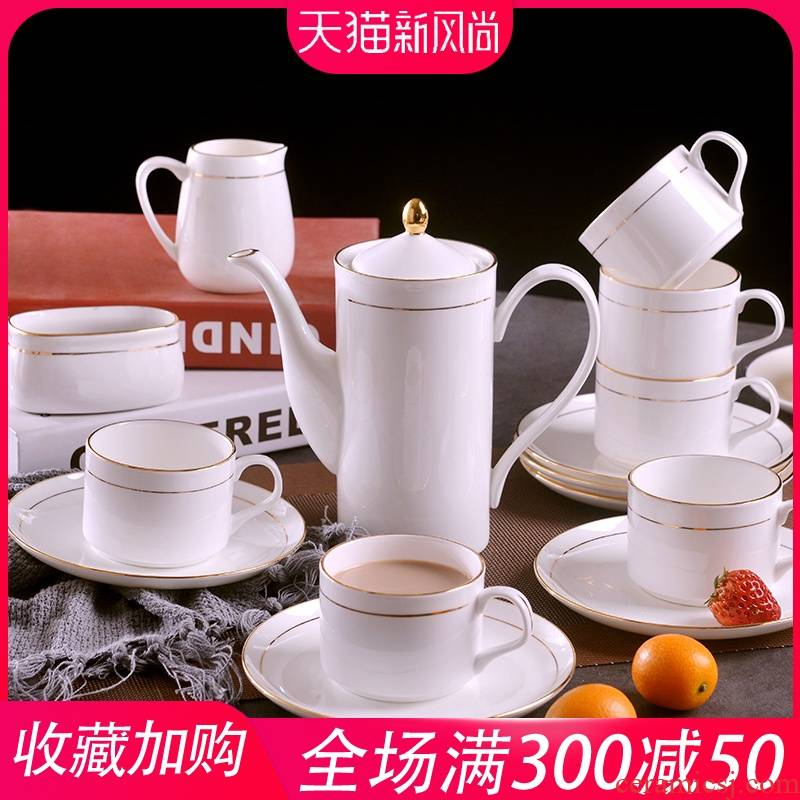 Jingdezhen manual gold 】 【 15 head of European style up phnom penh coffee set suit household ceramic coffee cups and saucers suit