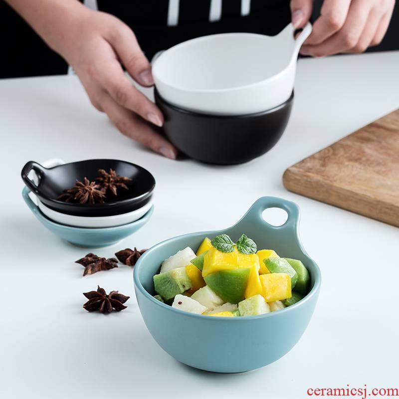 Jingdezhen ceramic rice bowl meal salad fruit bowl dessert snacks always northern wind three color matte enrolled monaural bowl