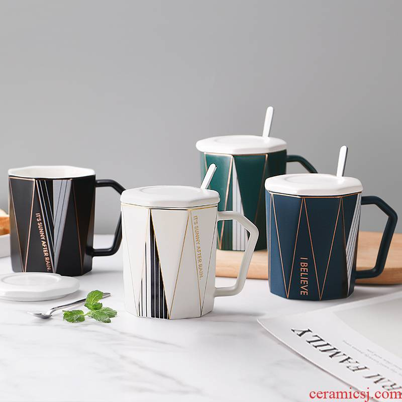 Mugs Nordic ins individuality creative trend ceramic cup with cover run home breakfast ultimately responds. A cup of office
