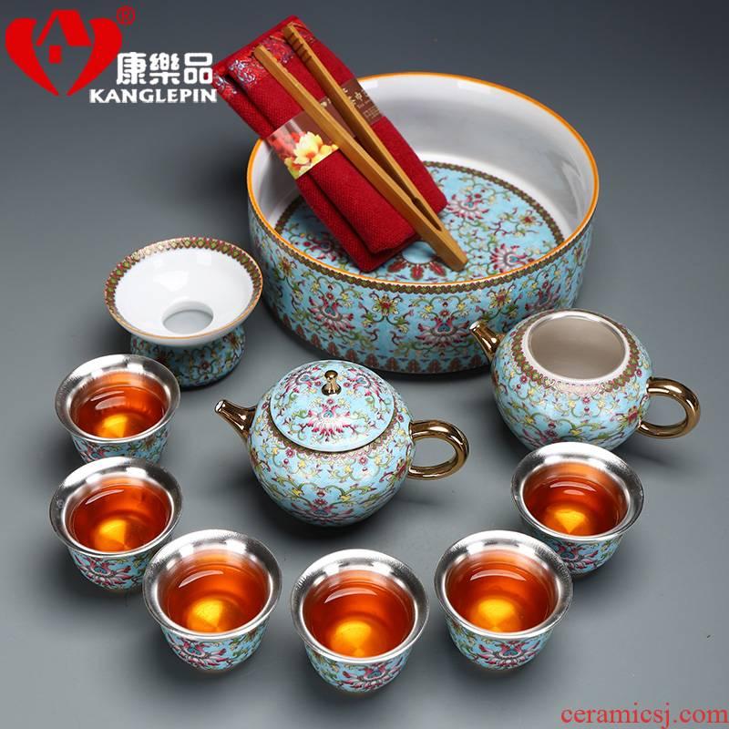 Recreational product gold colored enamel porcelain tea set coppering. As silver clasp porcelain tea set the whole court wind office tea kettle