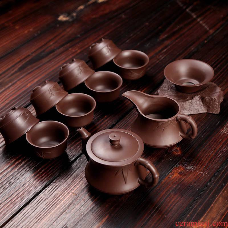 Violet arenaceous yixing kung fu tea set 6 cups home tea teapot, modern Chinese suit simple move