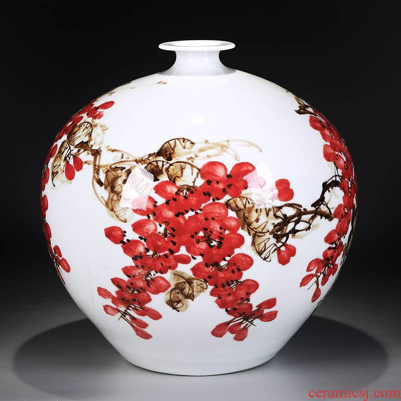 Jingdezhen ceramics vase hand - made flower arranging furnishing articles of modern Chinese style household living room TV cabinet decoration porcelain