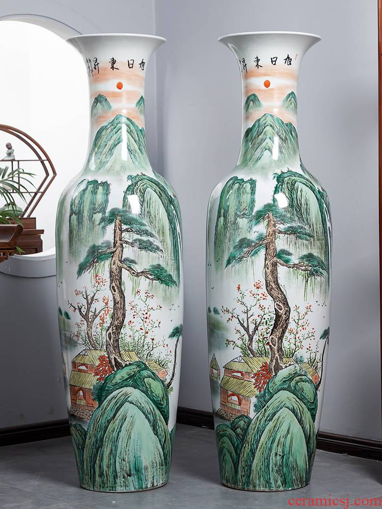 Jingdezhen ceramics hand - made big vase landed on furnishing articles of Chinese style decoration for opening gifts to heavy large living room