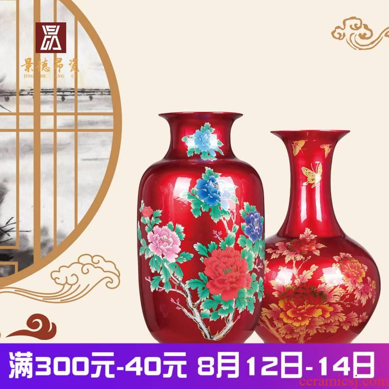 Jingdezhen ceramics China red crystal glaze of large vases, flower arrangement home sitting room TV cabinet decorative furnishing articles